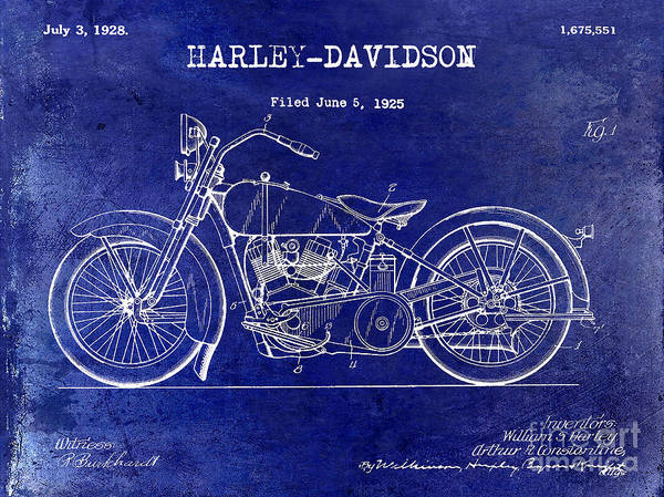 Victory Motorcycle Photograph - 1928 Harley Davidson Patent Drawing Blue by Jon Neidert