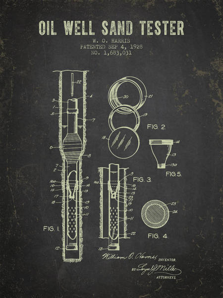 Drilling Rig Wall Art - Digital Art - 1928 Oil Well Tester Patent - Dark Grunge by Aged Pixel