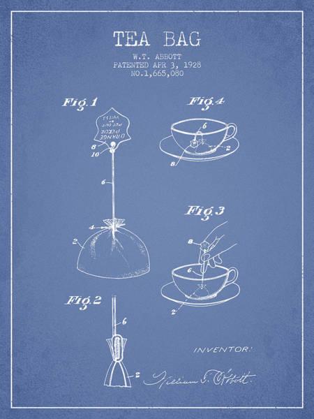 Tea Wall Art - Digital Art - 1928 Tea Bag Patent - Light Blue by Aged Pixel