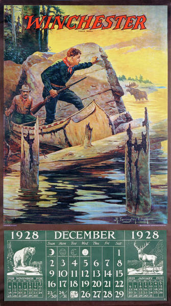 Wall Art - Painting - 1928 Winchester Repeating Arms And Ammunition Calendar by R Farrington Elwell