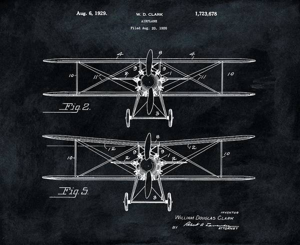 Vintage Airplane Drawing - 1929 Airplane Patent by Dan Sproul
