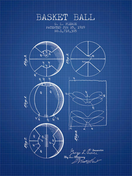 National Basketball Association Wall Art - Digital Art - 1929 Basket Ball Patent - Blueprint by Aged Pixel