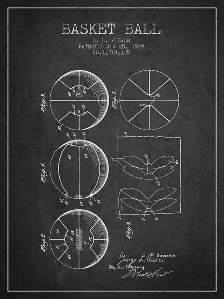 Association Digital Art - 1929 Basket Ball Patent - Charcoal by Aged Pixel