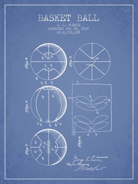 Association Digital Art - 1929 Basket Ball Patent - Light Blue by Aged Pixel