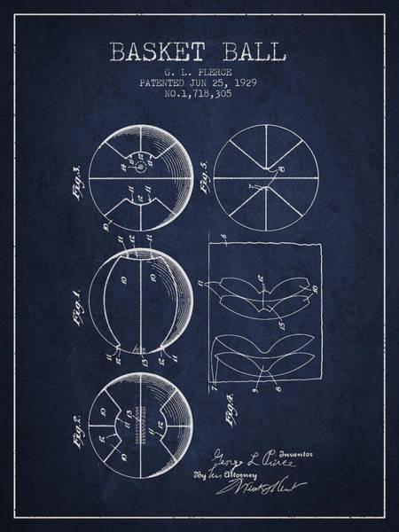 National Basketball Association Wall Art - Digital Art - 1929 Basket Ball Patent - Navy Blue by Aged Pixel