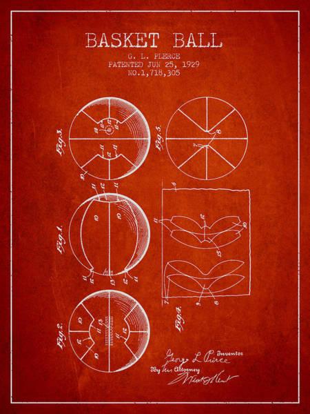 Association Digital Art - 1929 Basket Ball Patent - Red by Aged Pixel