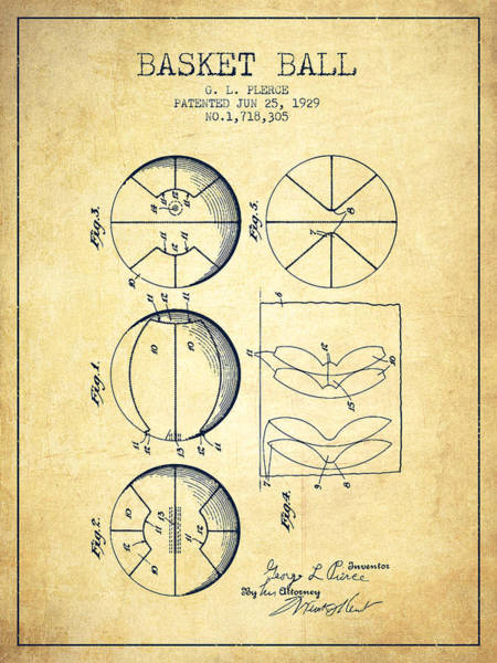Wall Art - Digital Art - 1929 Basket Ball Patent - Vintage by Aged Pixel