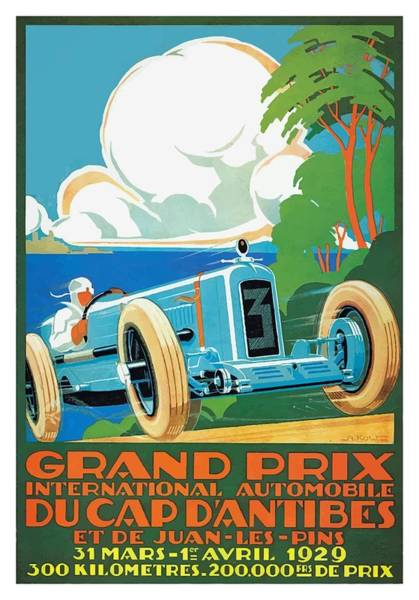 Wall Art - Digital Art - 1929 Cap D'antibes Grand Prix Racing Poster by Retro Graphics