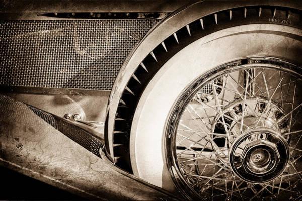 Photograph - 1929 Duesenberg Model J Dual Cowl Phaeton Wheel -0387s by Jill Reger