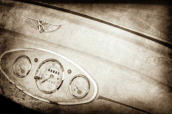 Photograph - 1929 Ford Model A Roadster Dashboard Emblem -0048s by Jill Reger