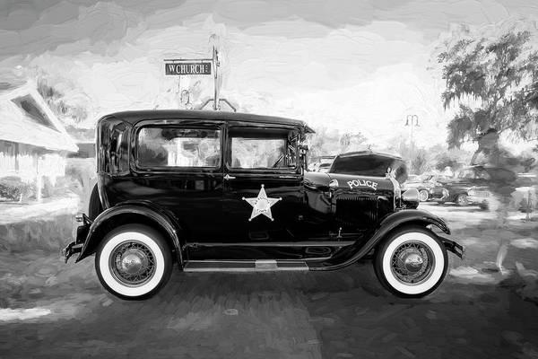 Photograph - 1929 Ford Model A Tudor Police Sedan Bw by Rich Franco
