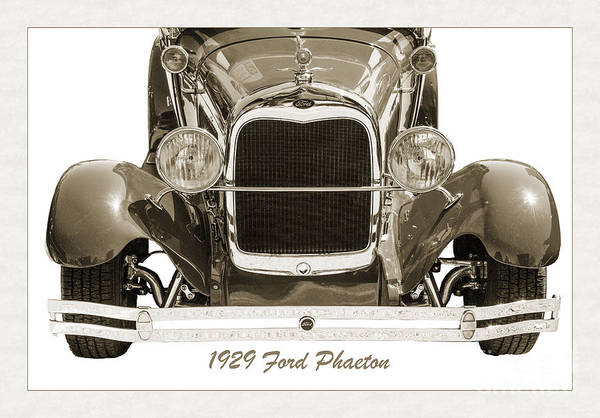 Photograph - 1929 Ford Phaeton Classic Antique Car Front End In Sepia  3501.0 by M K Miller