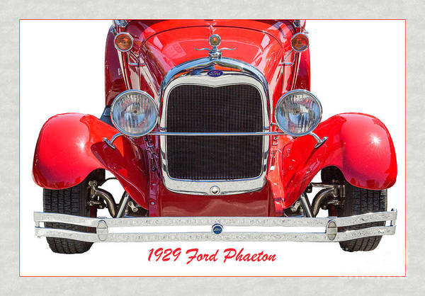 Photograph - 1929 Ford Phaeton Classic Antique Car Front End On White 3501.02 by M K Miller