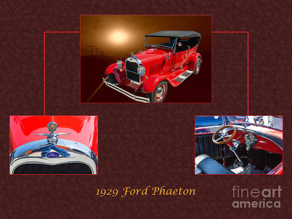 Photograph - 1929 Ford Phaeton Classic Car Antique Collage In Red Color 3515. by M K Miller