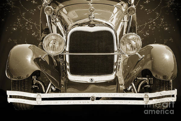 Photograph - 1929 Ford Phaeton Classic Car Front End Antique In Sepia 3512.01 by M K Miller