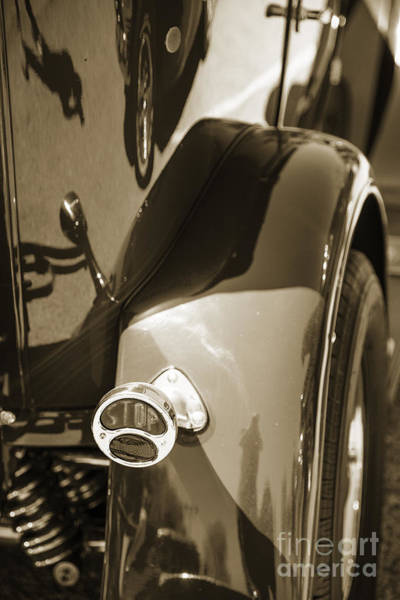 Photograph - 1929 Ford Phaeton Classic Car Tail Light Antique In Sepia 3510.0 by M K Miller