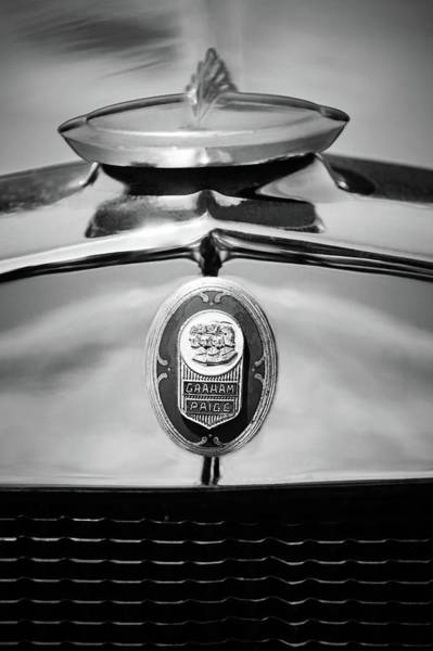 Wall Art - Photograph - 1929 Graham-paige Sport Roadster Emblem -0810bw by Jill Reger