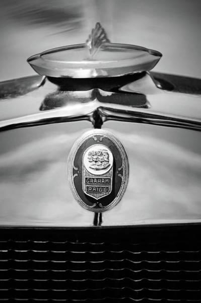 1929 Photograph - 1929 Graham-paige Sport Roadster Emblem -0810bw by Jill Reger