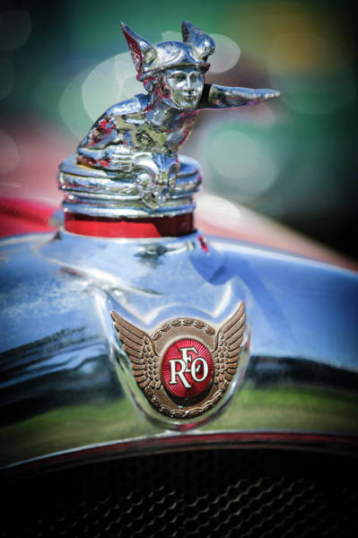 Wall Art - Photograph - 1929 Reo Flying Cloud Master Sport Roadster Hood Ornament - Emblem -0826c by Jill Reger