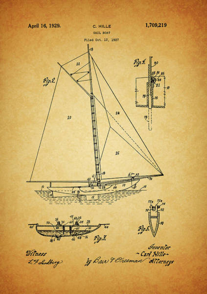 Sailboat Mixed Media - 1929 Sailboat Patent by Dan Sproul