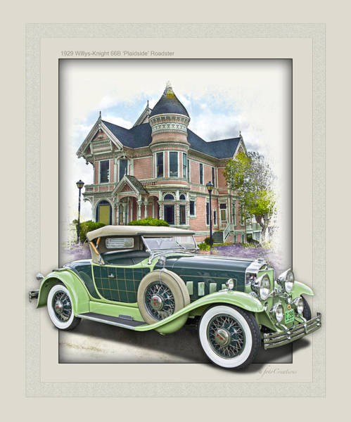 Victorian House Digital Art - 1929 Willys-knight 66b Plaidside Roadster By Griswold by Roger Beltz