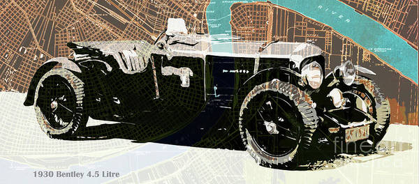 Wall Art - Drawing - 1930 Bentley 4.5 Litre Over New Orleans Old Map by Drawspots Illustrations