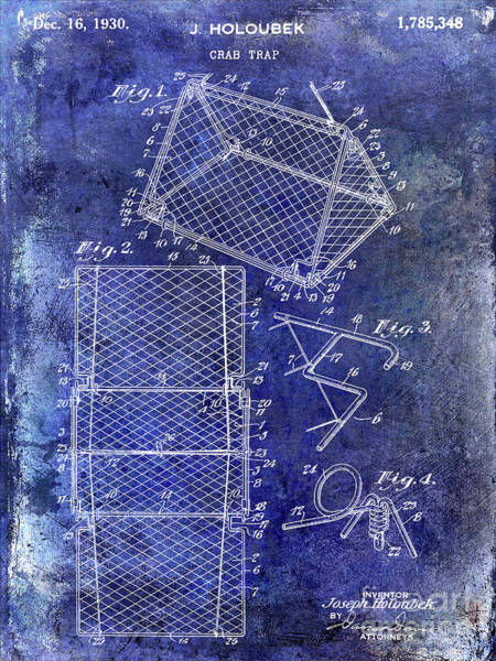 Wall Art - Photograph - 1930 Crab Trap Patent Blue by Jon Neidert