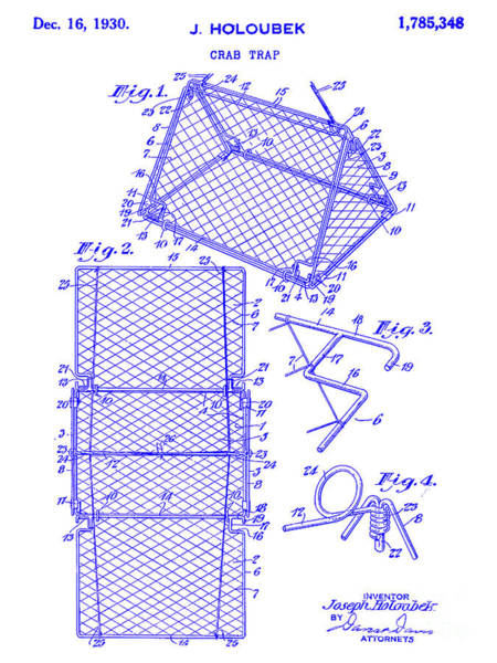 Wall Art - Photograph - 1930 Crab Trap Patent Blueprint by Jon Neidert