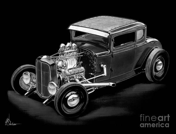 Hot Rod Drawing - 1930 Ford by Murphy Elliott