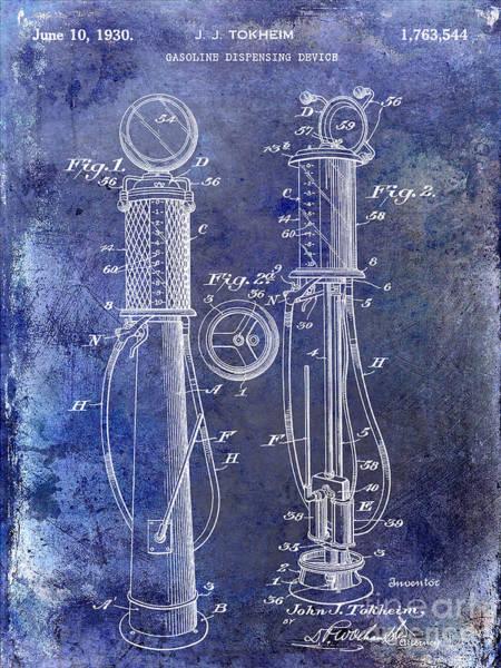 Oil Pump Photograph - 1930 Gas Pump Patent Blue by Jon Neidert