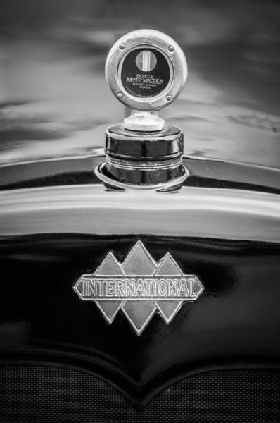 Photograph - 1930 International Six Speed Special Pickup Hood Ornament - Moto Meter -1976bw by Jill Reger