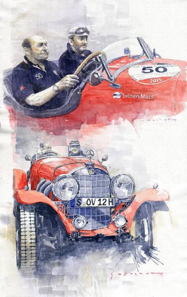 Mercedes Painting - 1930 Mercedes-benz 710 Ss Johen Mass  Millemiglia 2015  by Yuriy Shevchuk