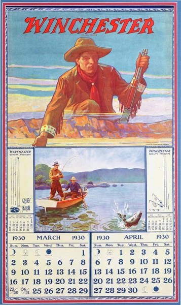 Painting - 1930 Winchester Repeating Arms And Ammunition Calendar by Lynn Bogue Hunt