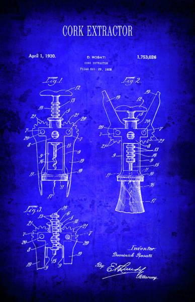 Cellar Digital Art - 1930 Wine Cork Extractor Patent Blueprint by Daniel Hagerman