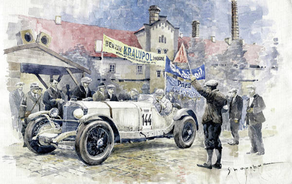 Wall Art - Painting - 1930 Zbraslav-jiloviste Regularity Ride To The Top Mercedes Benz Ssk  Rudolf Caracciola Winner. by Yuriy Shevchuk