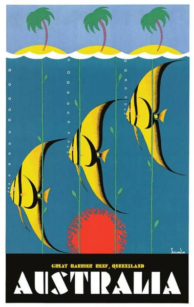 Queensland Digital Art - 1930's Australia Great Barrier Reef Travel Poster by Retro Graphics