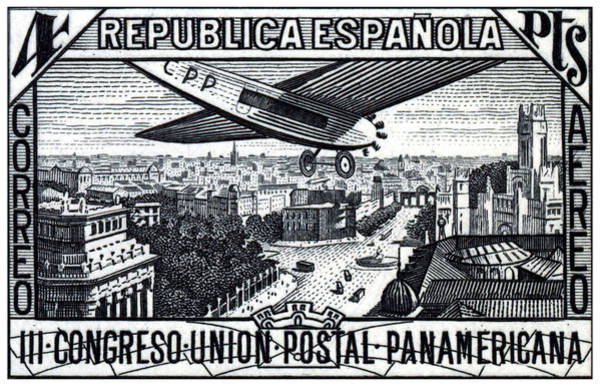 Spanish Restaurant Painting - 1931 Airplane Over Calle De Alcala, Spain by Historic Image