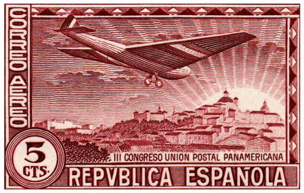 Spanish Restaurant Painting - 1931 Airplane Over Madrid Spain Stamp by Historic Image