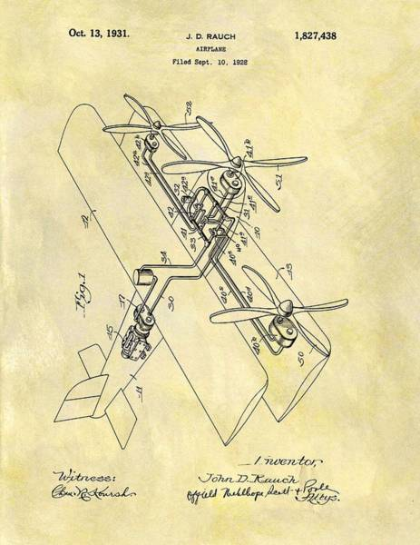 Vintage Airplane Drawing - 1931 Airplane Patent by Dan Sproul