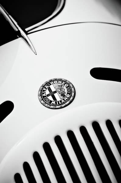 Wall Art - Photograph - 1931 Alfa Romeo 6c 1750 Gran Sport Aprile Spider Corsa Emblem -3693bw by Jill Reger