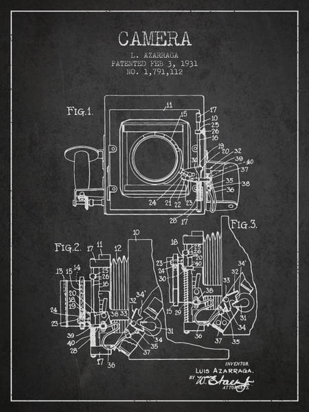 Patent Drawing Wall Art - Digital Art - 1931 Camera Patent - Charcoal by Aged Pixel