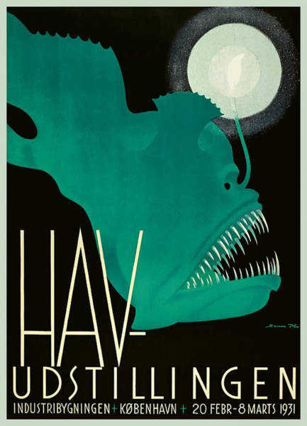 Deep Digital Art - 1931 Denmark Anglerfish Sea Exhibition Advertising Poster by Retro Graphics
