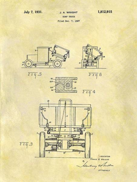 Wall Art - Drawing - 1931 Dump Truck Patent by Dan Sproul