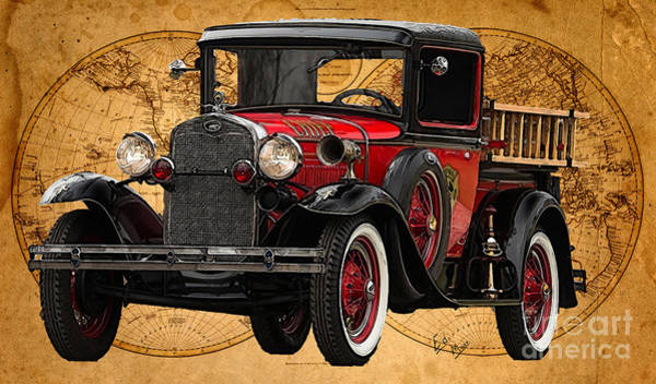 Wall Art - Painting - 1931 Ford Model A Fire Truck by William Mace