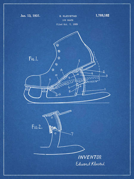 Drawing - 1931 Ice Skate by Dan Sproul