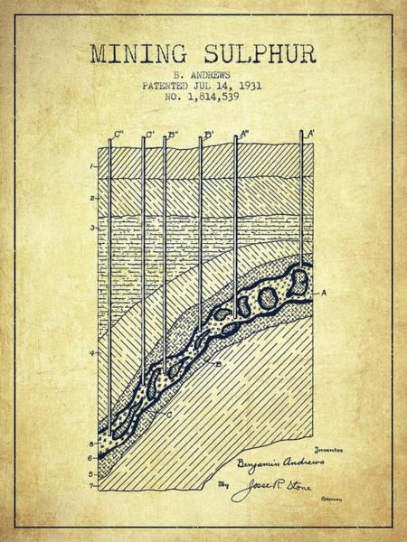 Wall Art - Digital Art - 1931 Mining Sulphur Patent En38_vn by Aged Pixel