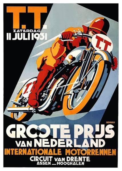 Netherlands Digital Art - 1931 Netherlands Motorcycle Grand Prix Poster by Retro Graphics