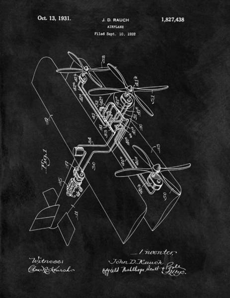 Vintage Airplane Drawing - 1931 Plane Patent by Dan Sproul