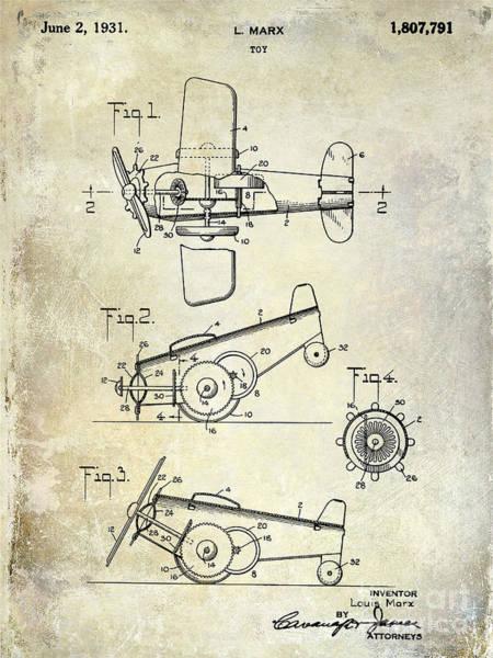 Vintage Airplane Photograph - 1931 Toy Airplane Patent by Jon Neidert