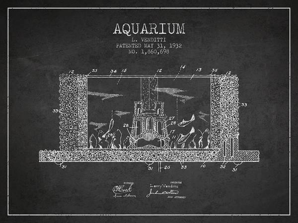 Aquarium Digital Art - 1932 Aquarium Patent - Charcoal by Aged Pixel